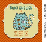 baby shower card template with... | Shutterstock .eps vector #745342588