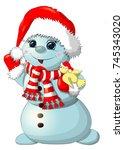 fun snowman isolated. christmas ... | Shutterstock .eps vector #745343020