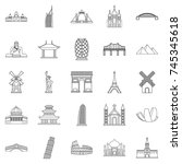 recreation area icons set.... | Shutterstock .eps vector #745345618