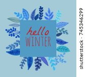 a winter  square background  a... | Shutterstock .eps vector #745346299
