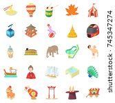 cheerful attraction icons set.