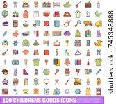 100 childrens goods icons set.... | Shutterstock .eps vector #745348888