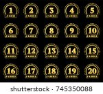 set of gold numbers from 1 to... | Shutterstock .eps vector #745350088