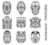 indian aztec and african... | Shutterstock .eps vector #745352806