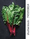 fresh swiss chard leaves on... | Shutterstock . vector #745353814