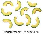 healthy food. sliced avocado... | Shutterstock . vector #745358176