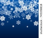 snow flakes falling winter... | Shutterstock .eps vector #745358818