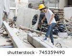 work hard concept construction...   Shutterstock . vector #745359490