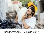 construction asian workers on...   Shutterstock . vector #745359514