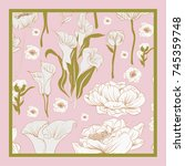 delicate colors of silk scarf... | Shutterstock .eps vector #745359748
