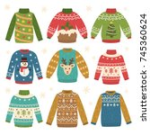 cute set of ugly christmas... | Shutterstock .eps vector #745360624