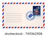 envelope with christmas tree... | Shutterstock .eps vector #745362508
