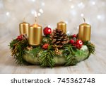 advent wreath with one burning... | Shutterstock . vector #745362748
