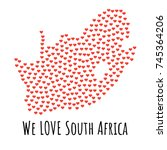 south africa map with red...   Shutterstock .eps vector #745364206
