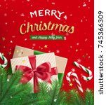 merry christmas and happy new... | Shutterstock .eps vector #745366309