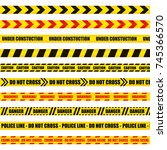 vector set of dangerous ribbons ... | Shutterstock .eps vector #745366570