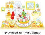 santa claus cooking a fancy... | Shutterstock .eps vector #745368880