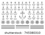 set of icons and contour of sea ... | Shutterstock .eps vector #745380310