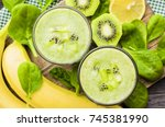 spinach smoothie. fruit green... | Shutterstock . vector #745381990