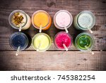 group of fresh juices ... | Shutterstock . vector #745382254