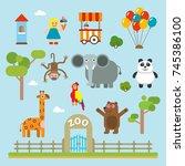 zoo animals vector kids... | Shutterstock .eps vector #745386100