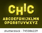 broadway style retro light bulb ... | Shutterstock .eps vector #745386229