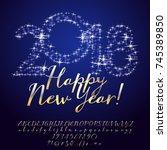 vector stars greeting card... | Shutterstock .eps vector #745389850