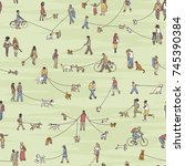seamless pattern with tiny... | Shutterstock .eps vector #745390384