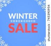 simple winter sale card... | Shutterstock .eps vector #745390954