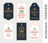 set of badges christmas sale... | Shutterstock .eps vector #745391830