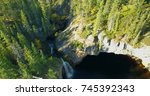 McNally Creek Territorial Park, Northwest Territories in Canada. The McNally Creek Waterfall shown from above has low water in the autumn.