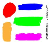 set of hand painted colorful... | Shutterstock .eps vector #745392694