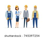 construction workers   colored... | Shutterstock . vector #745397254