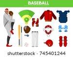 baseball sport equipment bat... | Shutterstock .eps vector #745401244