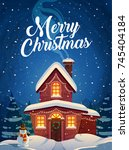 merry christmas greeting cards... | Shutterstock .eps vector #745404184