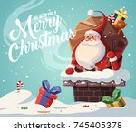 christmas card design template... | Shutterstock .eps vector #745405378