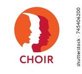 choir logo. singing people ... | Shutterstock .eps vector #745406200