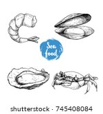 seafood sketches set. cooked... | Shutterstock .eps vector #745408084