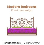 single colorful bed with...