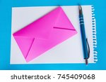 colorful envelope  pen and... | Shutterstock . vector #745409068