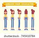 casual girl. front  side  back  ... | Shutterstock .eps vector #745410784