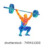 strong man powerlifting | Shutterstock .eps vector #745411333