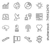 thin line icon set   diagram ... | Shutterstock .eps vector #745412470