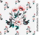 vintage traditional roses... | Shutterstock .eps vector #745413793