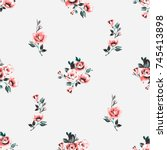 vintage rose flowers vector... | Shutterstock .eps vector #745413898