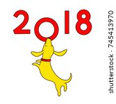 Yellow Dog  Symbol Of New Year...