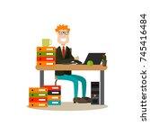 vector illustration of happy... | Shutterstock .eps vector #745416484
