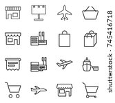 thin line icon set   shop ... | Shutterstock .eps vector #745416718