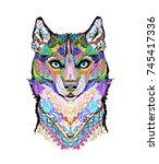 husky wolf dog pattern | Shutterstock . vector #745417336