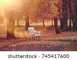 Bench In Autumn Landscape  ...